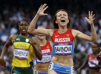 Savinova celebrates her win.