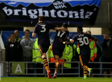 Newcastle United's Ayoze Perez (centre) celebrates scoring their winning goal.