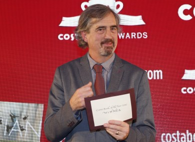 Sebastian Barry posing with the award at last night's ceremony.