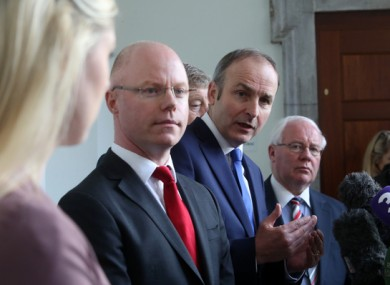 Stephen Donnelly with his party leader, Micheál Martin