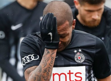 Everton Luiz reacts after being racially abused.