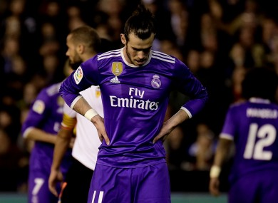 Gareth Bale can't hide his disappointment after Real Madrid's loss to Valencia.