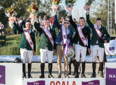 The Irish team (L-R): Kevin Babington, Cian O'Connor, Chef d'Equipe Michael Blake, Richie Moloney and Shane Sweetnam.