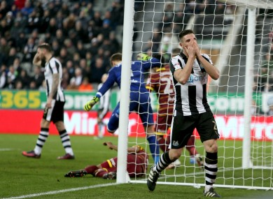 Newcastle United's Ciaran Clark looks dejected during tonight's match.