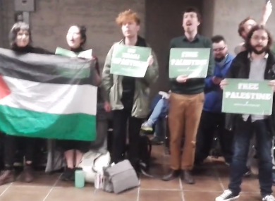 About 40 students protested in Trinity's arts block.