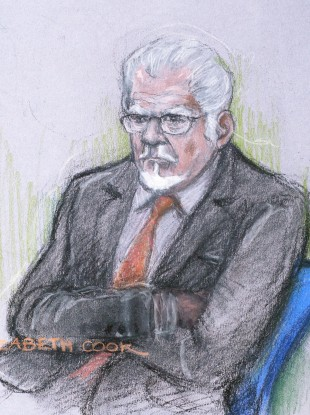 A court artist sketch of Rolf Harris at Southwark Crown Court in London.