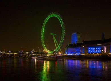The London Eye is one of the landmarks going green again this year.