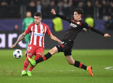 Havertz in action during the first leg.