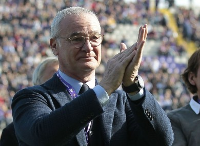 Claudio Ranieri applauds the crowd at a Serie A match in Florence