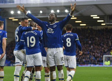 Romelu Lukaku celebrates scoring for Everton against Hull City
