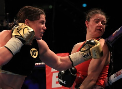 Katie Taylor and Milena Koleva during the Super-featherweight bout at Manchester Arena.