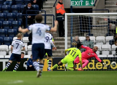 Daryl Horgan celebrates scoring Preston's second goal against Reading this afternoon.