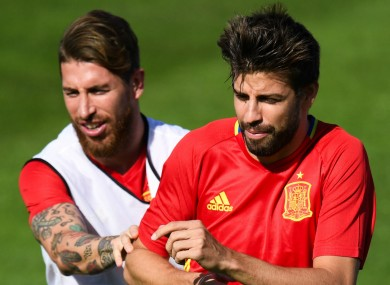 Sergio Ramos and Spain team-mate Gerard Pique.