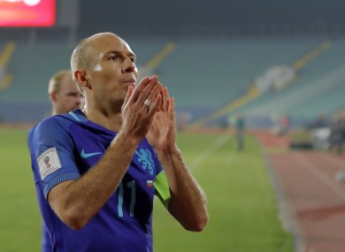 Netherlands' Arjen Robben leaves the field after their World Cup Group A qualifying soccer match against Bulgaria, at the Vassil Levski stadium in Sofia.