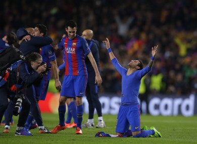 Neymar celebrates Barcelona's victory.