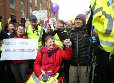Vera Twomey outside Leinster House on Tuesday following her trek from Cork