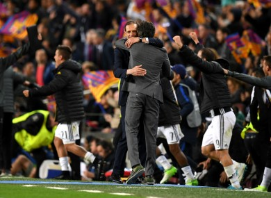 Juventus coach Massimiliano Allegri embraces Barcelona's Luis Enrique