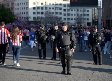 A police presence ahead of the Atletico Madrid-Leicester City game.