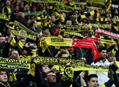 Borussia Dortmund fans ahead of the Champions League match against Monaco