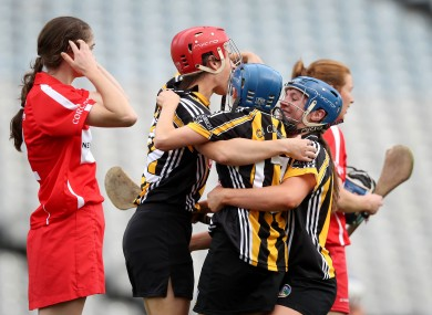 Aisling Dunphy celebrating Kilkenny's final win last year with teammates.