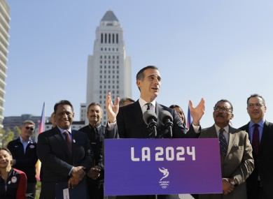 Los Angeles mayor Eric Garcetti speaking in January at an LA 2024 event.