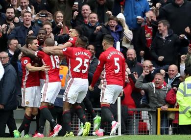 The Man United players celebrate with goalscorer Ander Herrera.