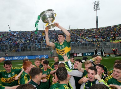 Mark O'Connor lifts the Tom Markham Cup after the 2015 All-Ireland minor final.