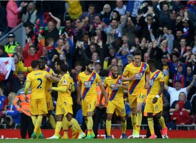 Crystal Palace celebrate Christian Benteke's goal at Liverpool
