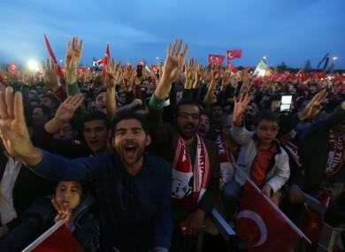 Erdogan supporters celebrating the referendum result.