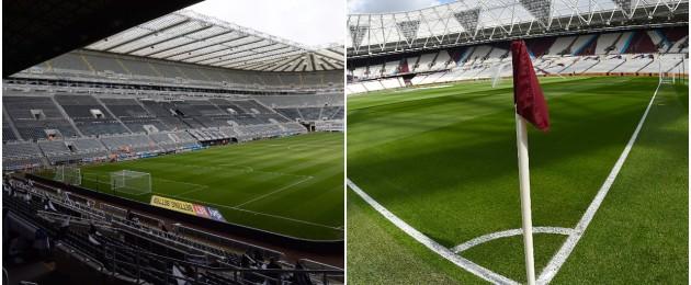 St James' Park (left) and London Stadium.