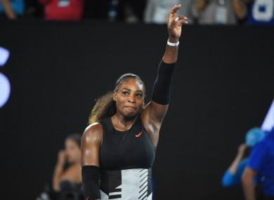 Serena Williams pictured during the women's singles final match against her sister Venus Williams at the Australian Open tennis championships in Melbourne last January.