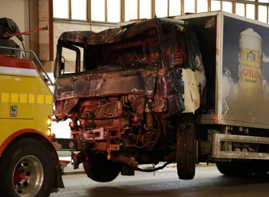The truck following the attack.