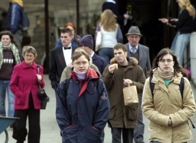 File photo of students walking in Trinity College Dublin.
