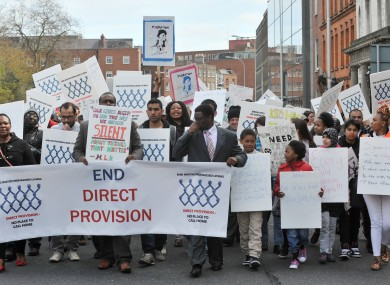 A protest against Direct Provision, unconnected to this court case.