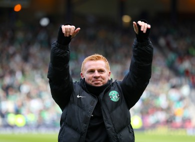 Lennon guided Hibs to the Championship title.