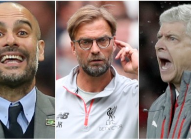 Manchester City manager Pep Guardiola (left), Liverpool boss Jurgen Klopp and Arsenal chief Arsene Wenger.