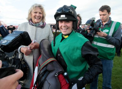 Kate Harrington celebrates a win in Galway with her mother.