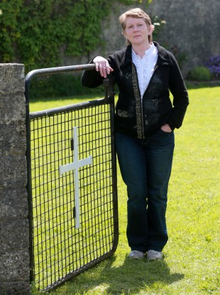 Catherine Corless at the site where remains were found.
