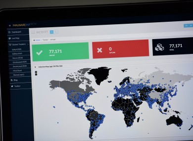 A map compiled by British company Malware Tech displays the geographical distribution of the WannaCry ransomware cyber-attack over the past twenty-four hours as seen on a computer screen in Portland Oregon.