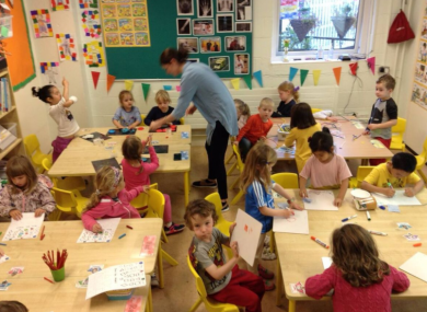 A principal's old office is being used as a Junior Infants classroom.