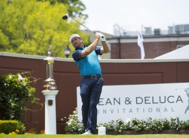 Graeme McDowell tees off on the 1st hole during the second round of the Dean & Deluca Invitational golf tournament at Colonial Country Club.