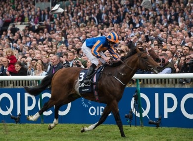 Churchill ridden by Ryan Moore crosses the line at Newmarket.