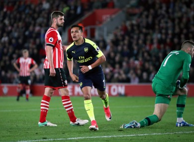 Arsenal striker Alexis Sanchez opens the scoring against Southampton.