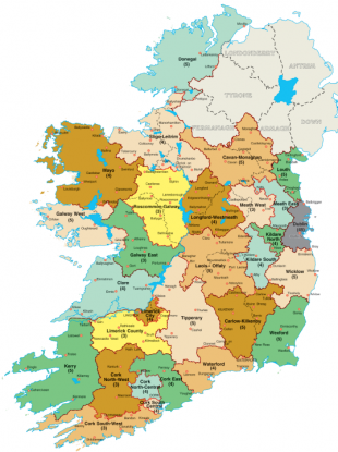 The map of the proposed new constituencies.