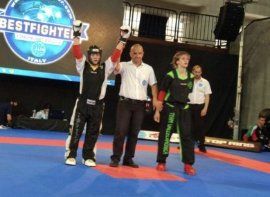 Caradh O'Donovan after winning the final of the --55kg point-scoring category at the Bestfighter World Cup.