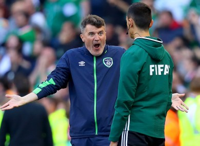 Keane reacting after Ireland's disallowed goal on Sunday.