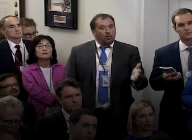 Brian Karem at yesterday's White House press briefing.
