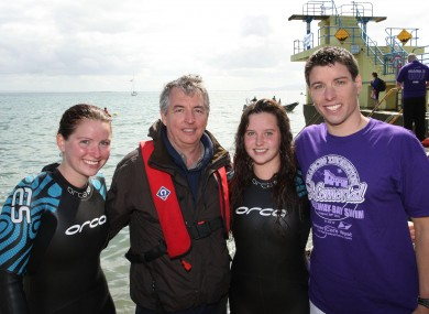 Fiona, Brian, Claire and Kevin Thornton after completing a swim.