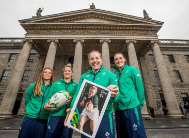 Briggs with team-mates Ashleigh Baxter, Ali Miller and Hannah Tyrrell outside the GPO.