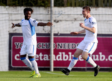 Eddie Dsane celebrates scoring against Drogheda.